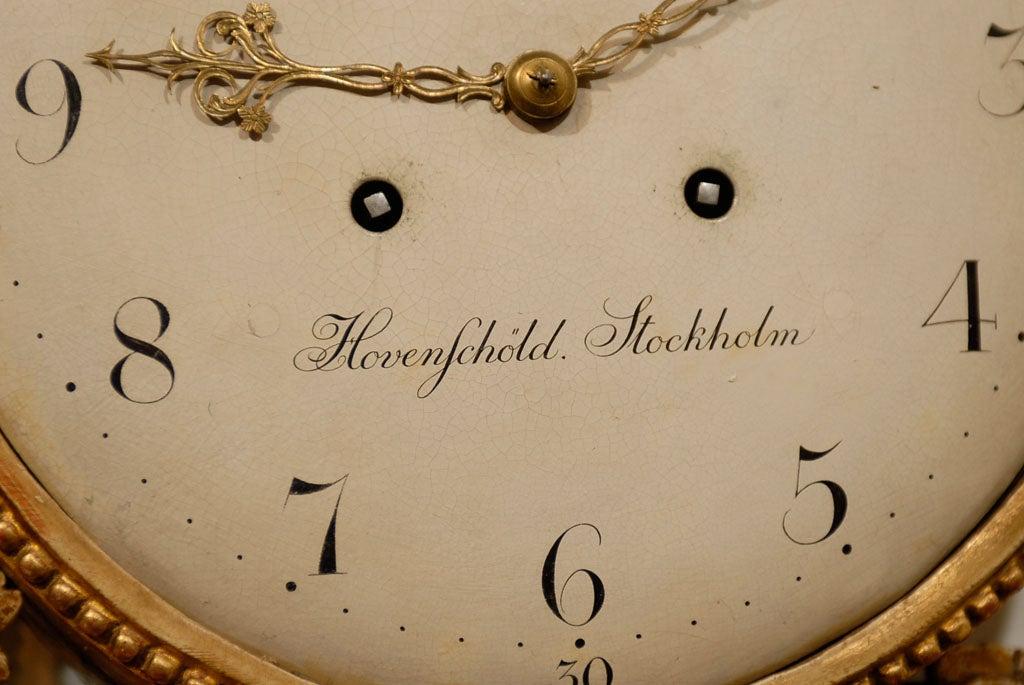 18th Century Swedish Giltwood Cartel Clock For Sale 6
