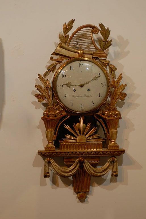 18th Century Swedish Giltwood Cartel Clock For Sale 7