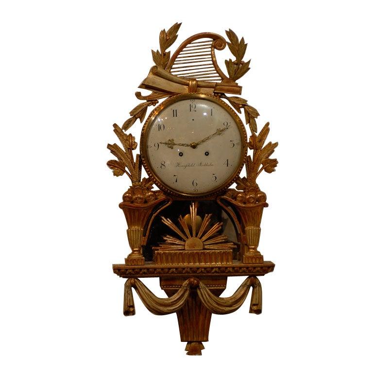 18th Century Swedish Giltwood Cartel Clock For Sale