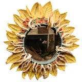 Rocaille Glazed Ceramic Earthenware Sunflower Mirror