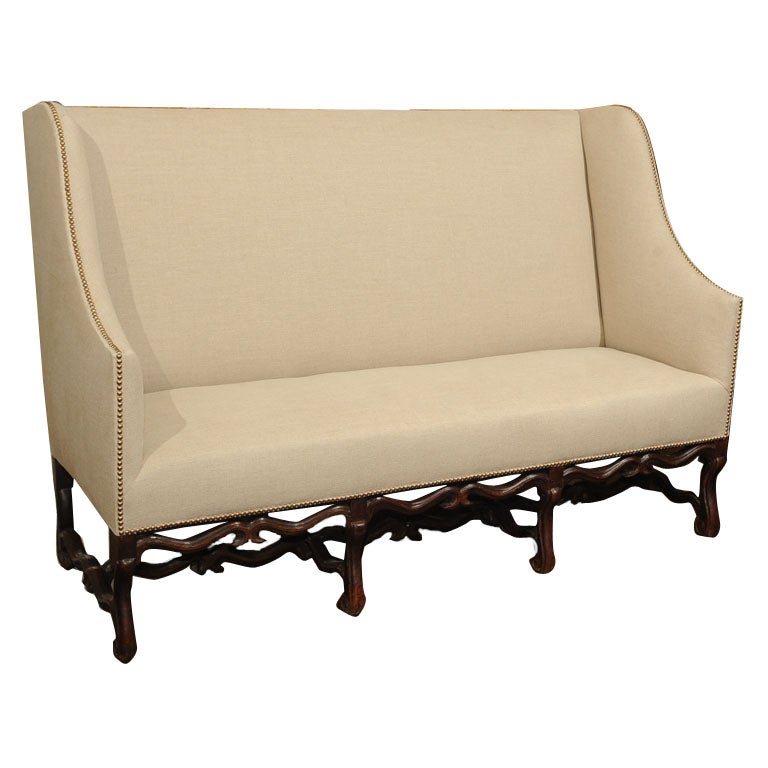 High Back Sofa With Carved Walnut Base At 1stdibs