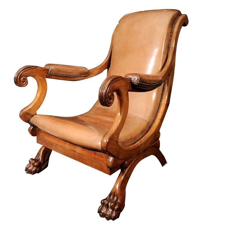 19th Century English Rosewood Library Reading Chair