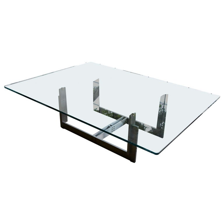 Carlo Scarpa Stainless Steel Coffee Table And Brass Top Detail 1