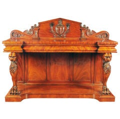 William IV Irish Mahogany Serving Table with a Pediment Back and Monopodia Legs