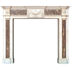 18th Century Statuary and Brocatelle Marble Fireplace