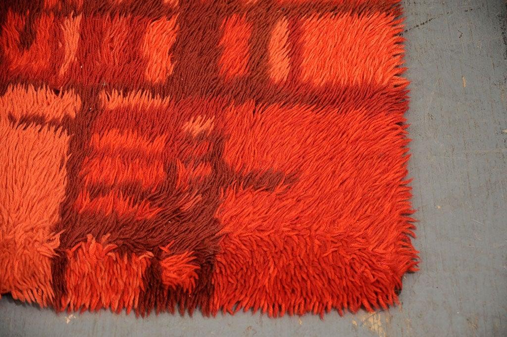 Abstract Red Rya Rug 3