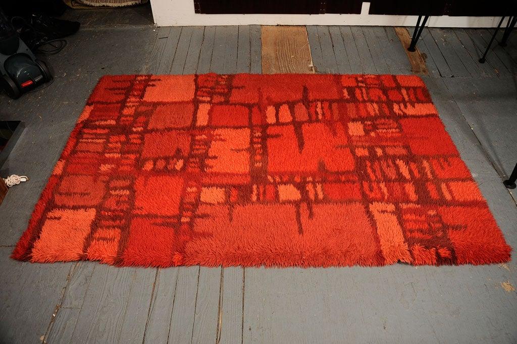 Abstract Red Rya Rug 4