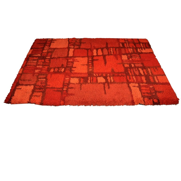 Abstract Red Rya Rug At 1stdibs