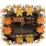 Charming and Bold Sculptural Flower Mirror by Artes de Mexico