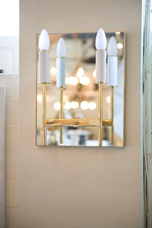 Modern Paul Marra Brass Mirror Back Sconce For Sale