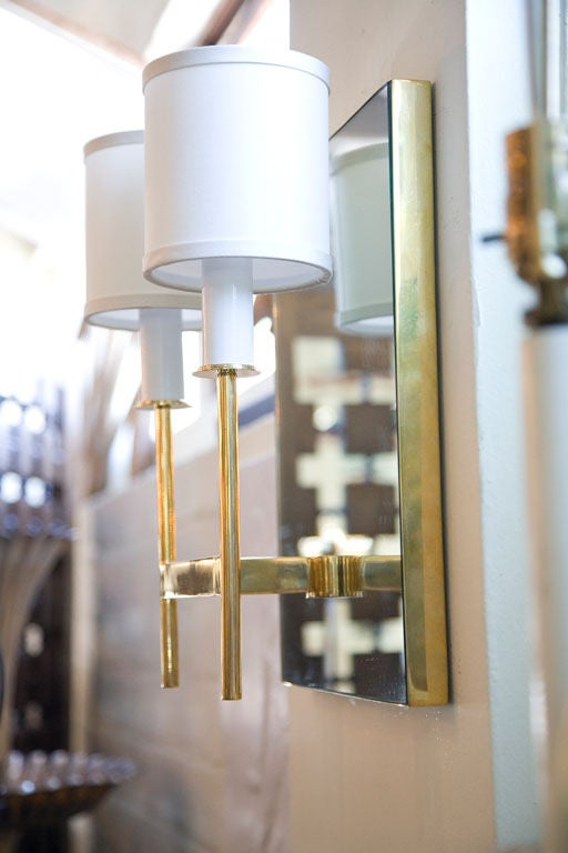 Contemporary Paul Marra Brass Mirror Back Sconce For Sale
