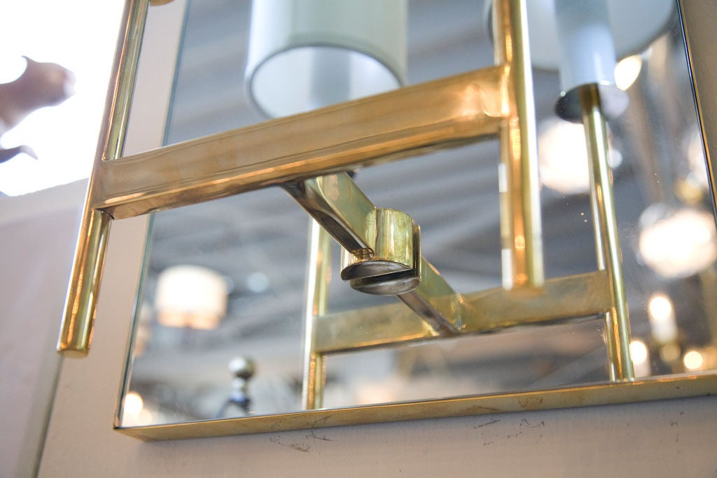 Paul Marra Brass Mirror Back Sconce For Sale 1