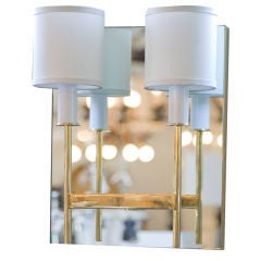 Paul Marra Brass Mirror Back Sconce In Excellent Condition For Sale In Los Angeles, CA