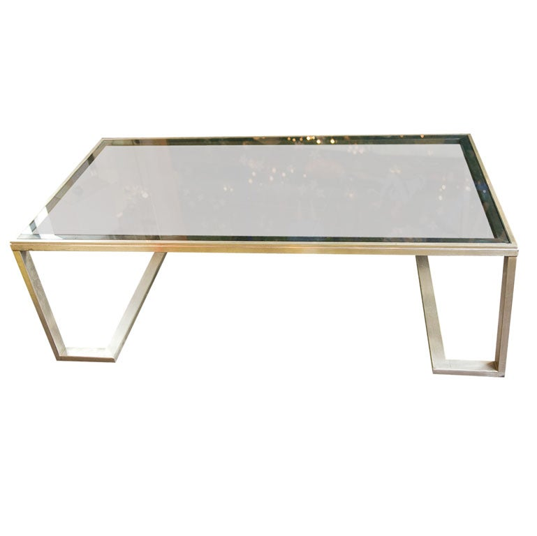 Brushed Aluminum Coffee Table: French Brushed Steel Coffee Table At 1stdibs