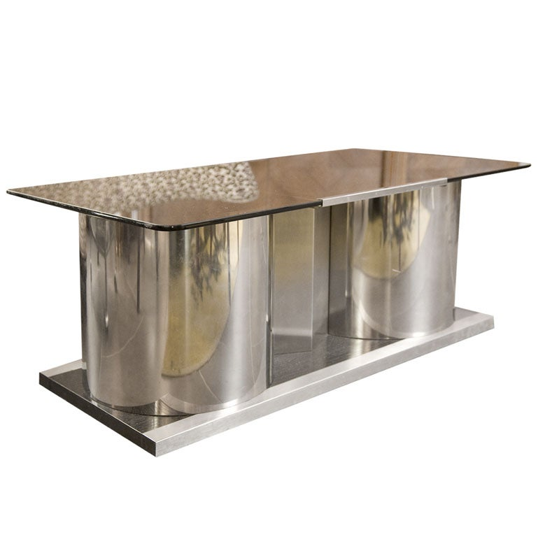 1970s Brushed Steel and Lacquered Wood French Coffee Table
