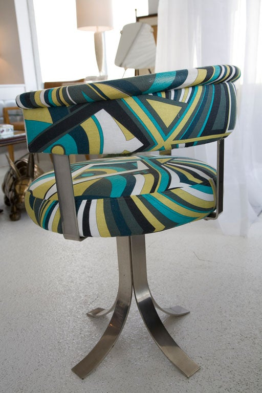 1970 S French Modernist Chair Upholstered In Pucci Fabric