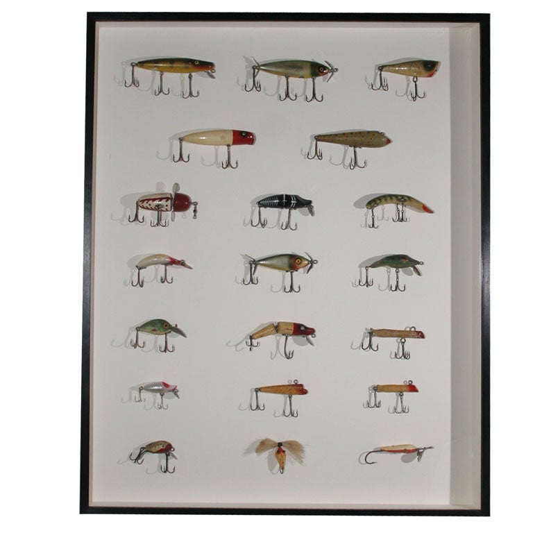 Framed collection of vintage fishing lures at 1stdibs for Vintage fishing lure identification