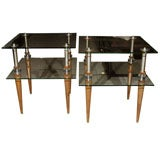 Pair 1980's Two Tier Glass End Tables- Memphis Inspired
