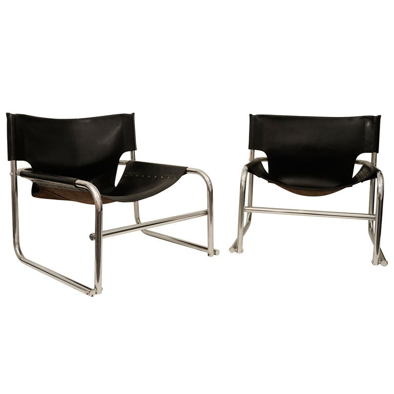 pair of leather and chrome chairs at 1stdibs