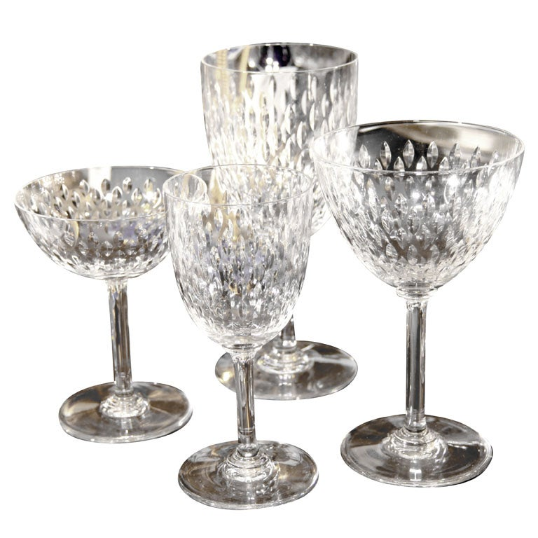 32 piece baccarat crystal stemware set 8 place set