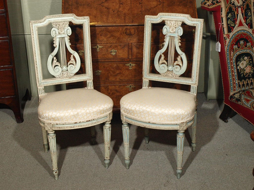 Antique French Louis Xvi Style Painted Lyre Back Chairs At