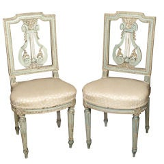 Antique French Louis XVI style painted lyre back chairs