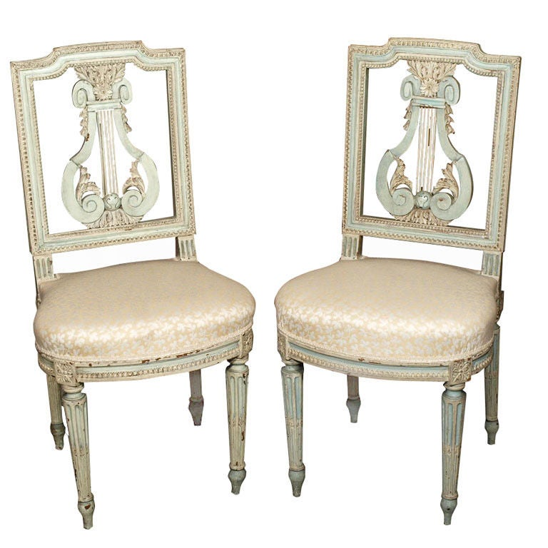 Antique french louis xvi style painted lyre back chairs at 1stdibs - Reasons choosing vintage style furniture ...