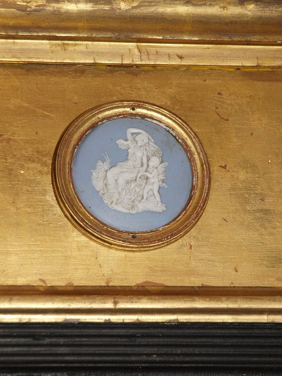 Antique English Victorian Gold Leaf Mirror With Wedgwood