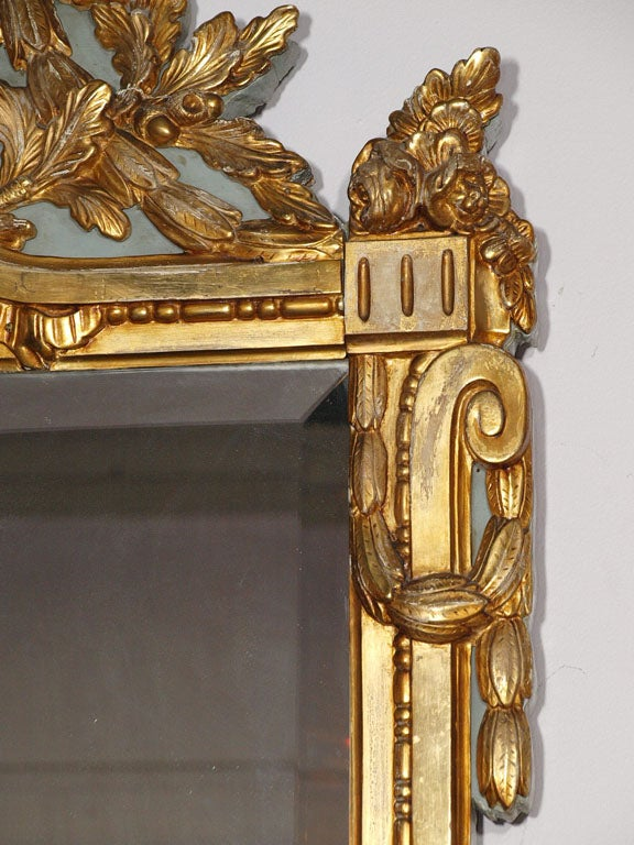 18th century Louis XVI gold leaf mirror with bevelled glass. image 6