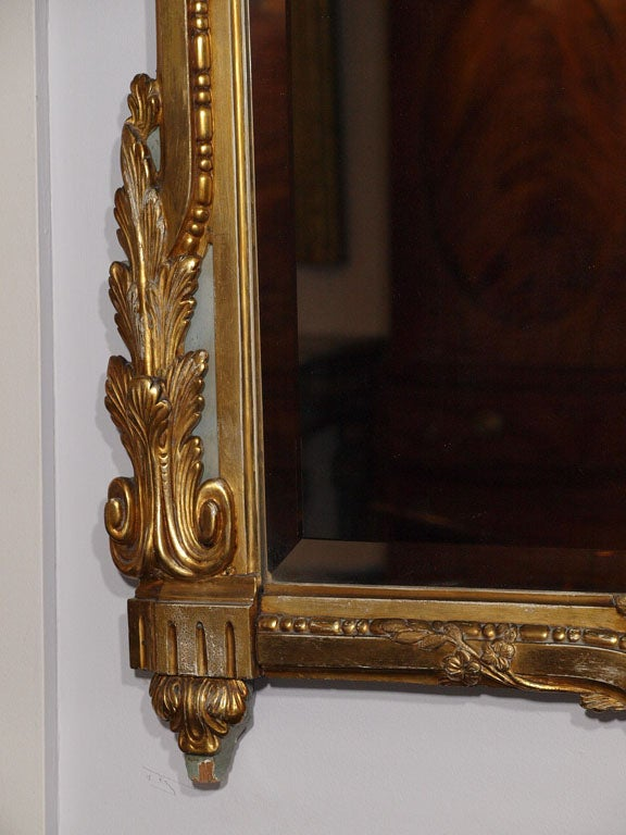 18th century Louis XVI gold leaf mirror with bevelled glass. image 8