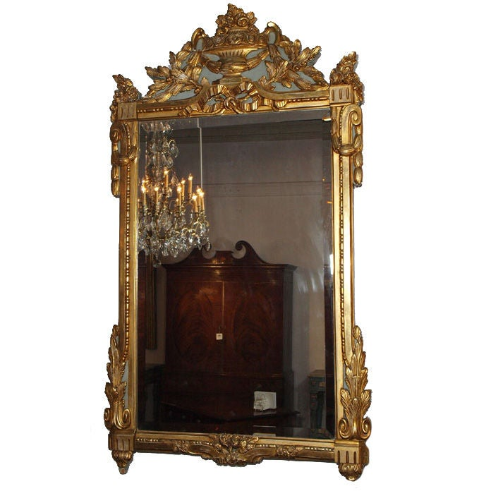 18th century Louis XVI gold leaf mirror with bevelled glass.
