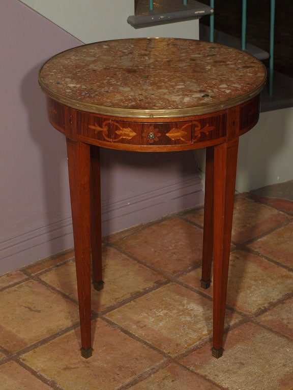 Antique Inlaid Marble Table : Antique french inlaid marble top gueridon table at stdibs