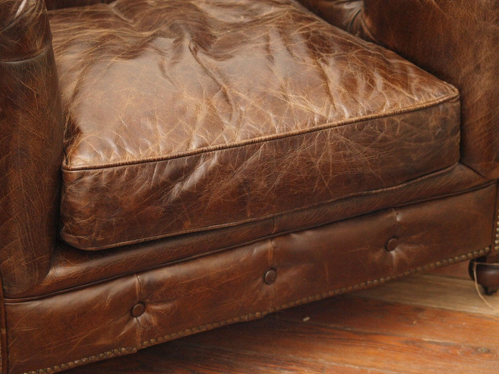 Merveilleux Belgian Leather Sofa Chair Chesterfield Style For Sale 2