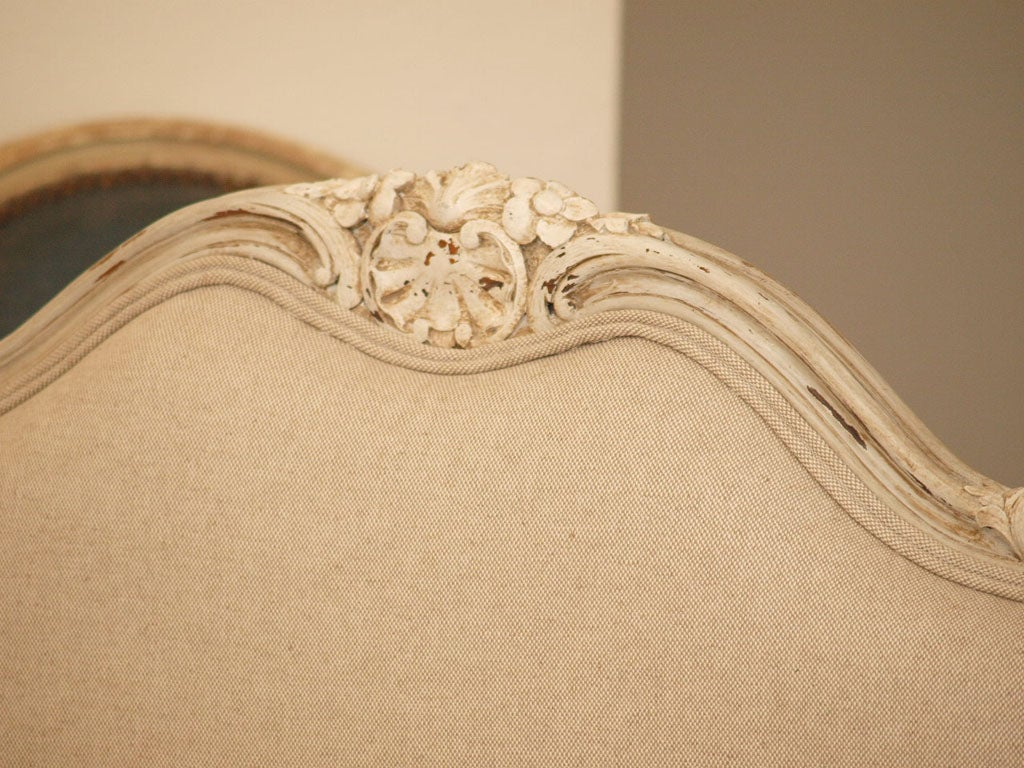 19th c. French Daybed with Belgian Linen image 6