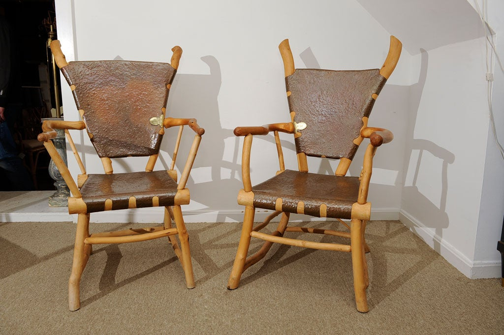 Pair Of Rustic Carved Maple Wood And Hammered Copper Arm Chairs At 1stdibs