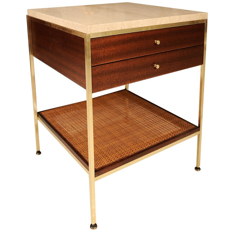 Paul Mccobb 2 Drawer Bedside Table With Rattan Shelf