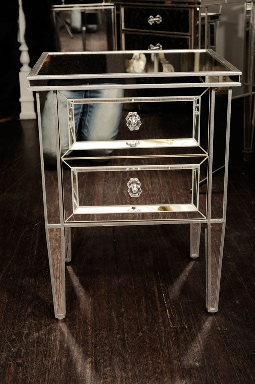 American Pair of Custom Mirrored Commodes with Silver Trim For Sale