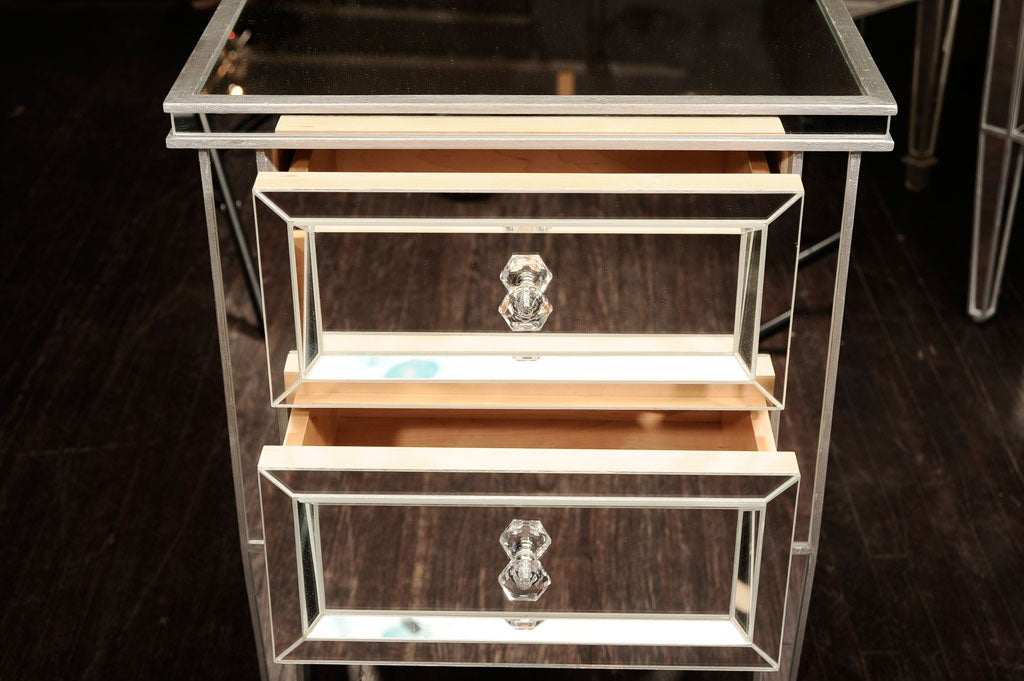 Pair of Custom Mirrored Commodes with Silver Trim In Excellent Condition For Sale In New York, NY