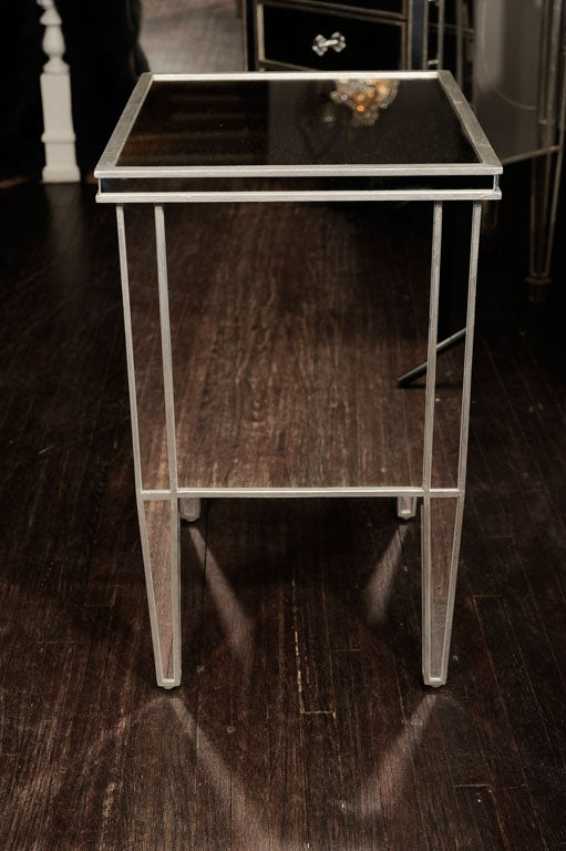 Contemporary Pair of Custom Mirrored Commodes with Silver Trim For Sale