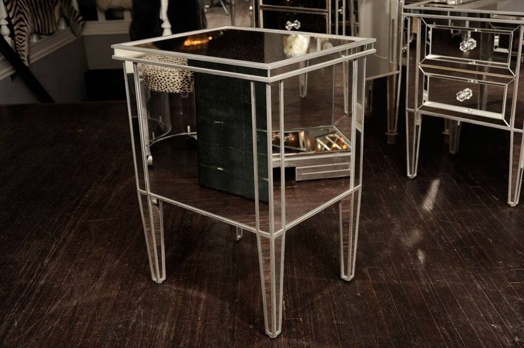 Pair of Custom Mirrored Commodes with Silver Trim For Sale 1