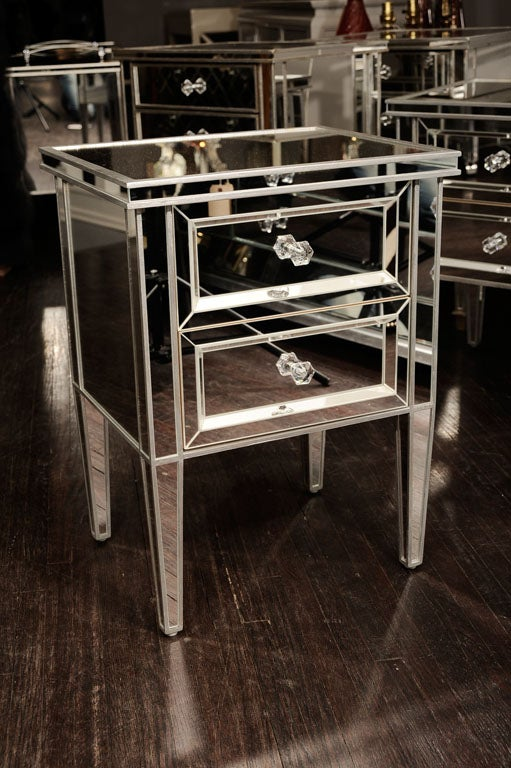 Pair of Custom Mirrored Commodes with Silver Trim For Sale 2