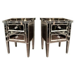 Pair of Custom Mirrored Commodes with Silver Trim