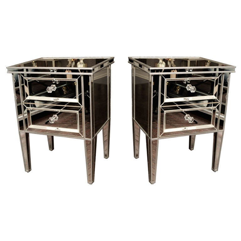 Pair of Custom Mirrored Commodes with Silver Trim For Sale