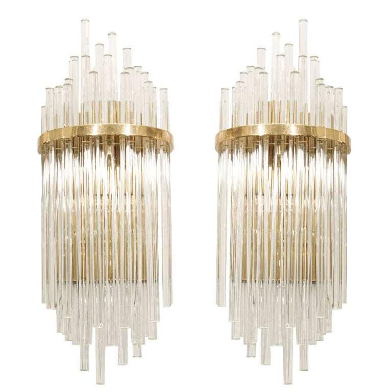 Large Glass Wall Lights : Pair of Custom Large Glass Rod Sconces For Sale at 1stdibs
