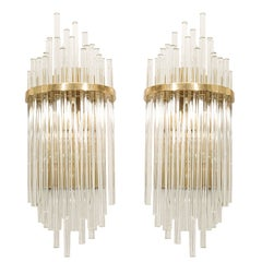 Pair of Custom Large Glass Rod Sconces with Brass Frame