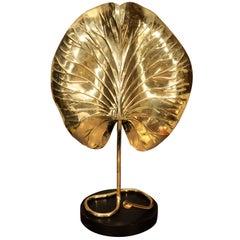 Tommaso Barbi Brass Leaf Table Lamp, circa 1950