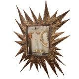 Rectangular hammered and serrated leaf mirror