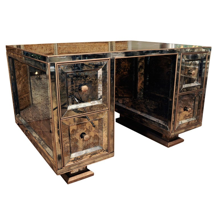 Mirrored Partners Desk For Sale