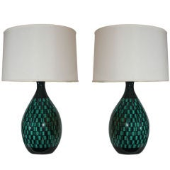 Pair of Italian Modernist Ceramic Table Lamps
