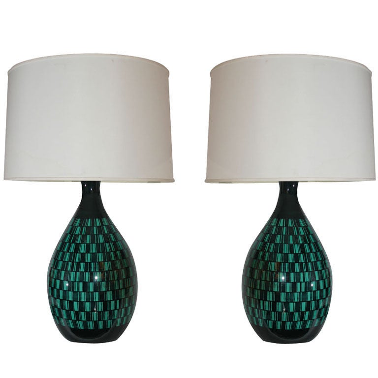 Pair of Italian Modernist Ceramic Table Lamps